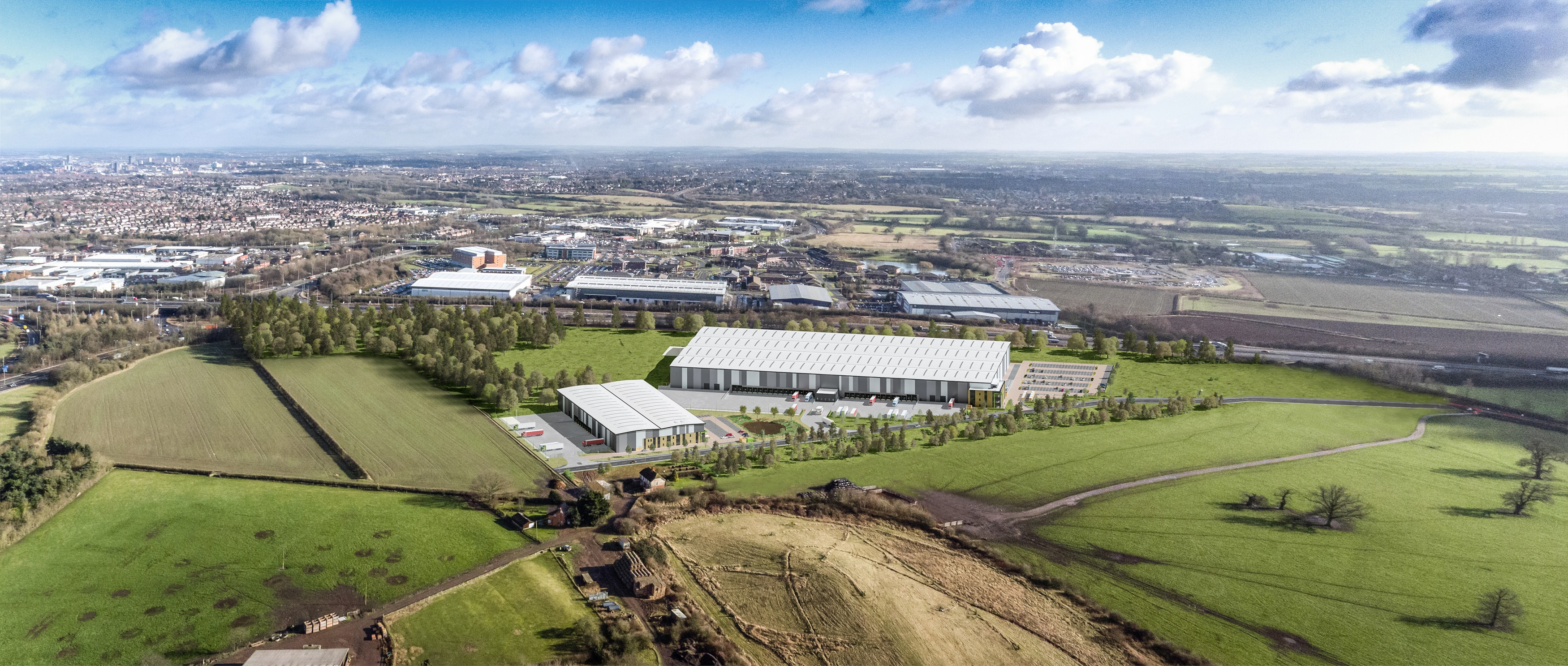 Leicester commercial park aerial