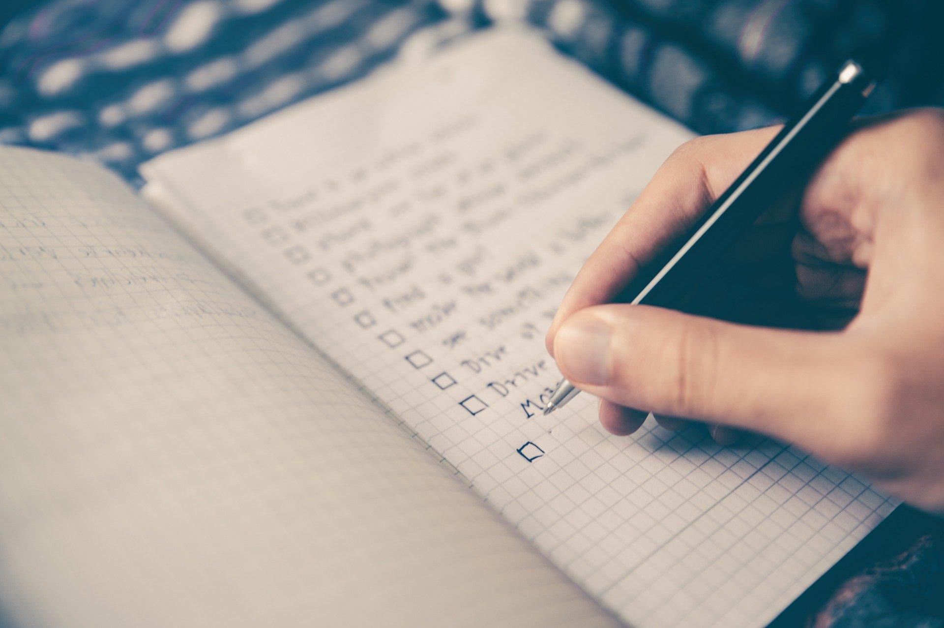 Pen and checklist