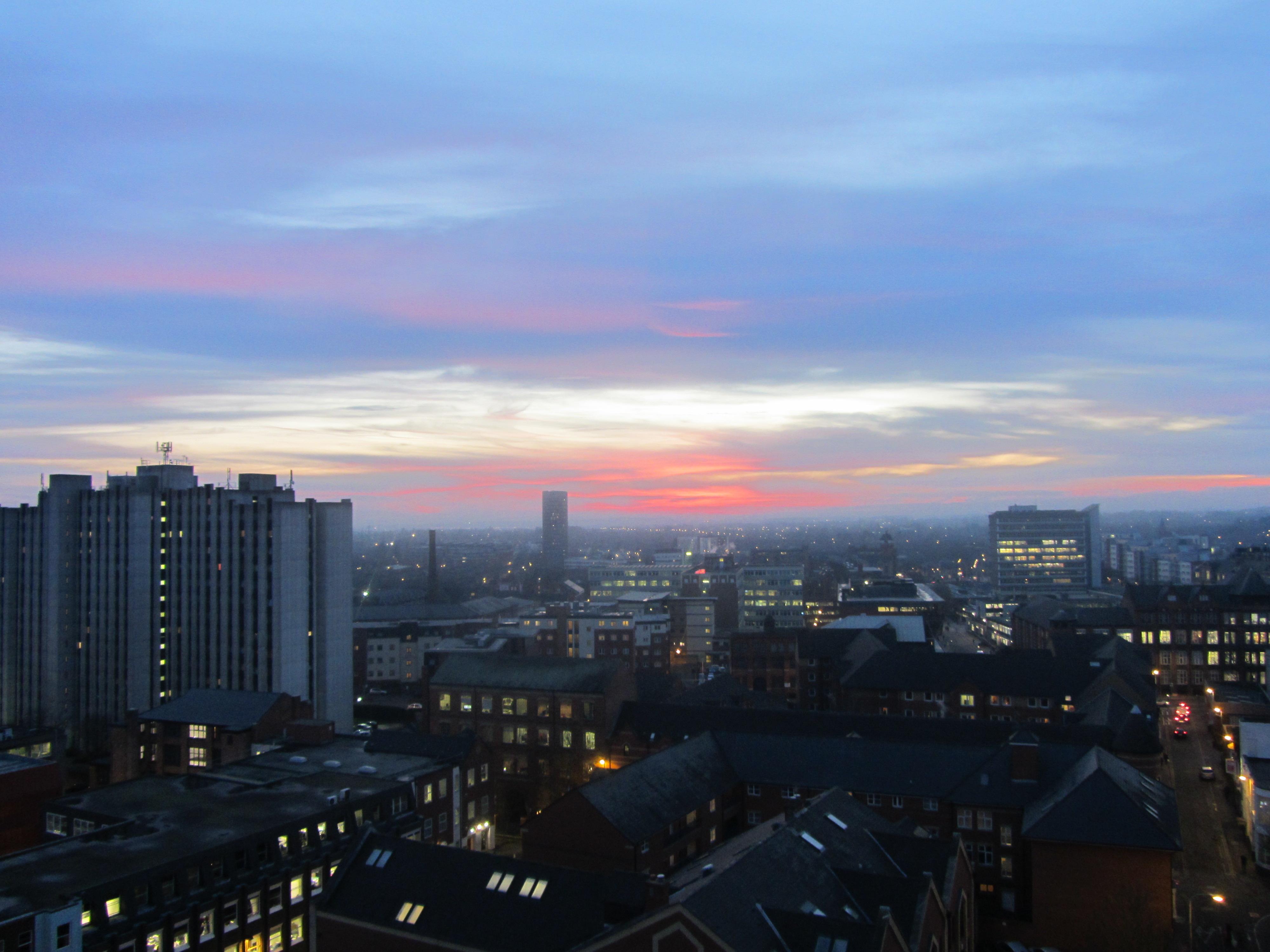 Leicester skyline sunset