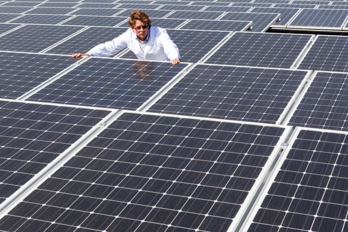 man-inspecting-solar-panels