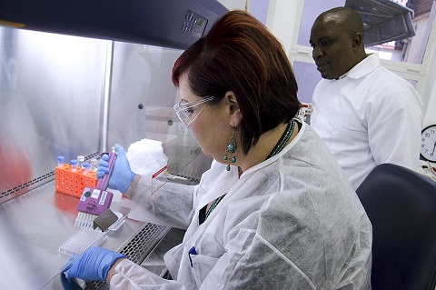 Lady laboratory testing