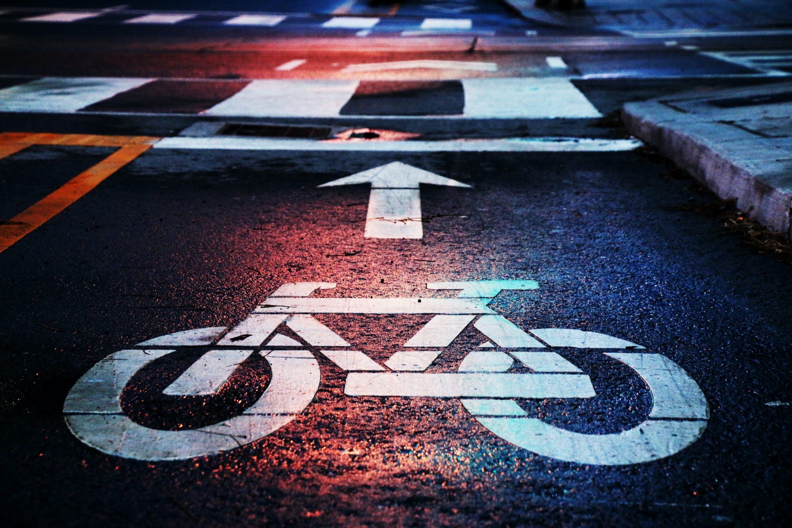 Cycling sign painted on road