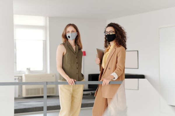 business-women-wearing-face-masks