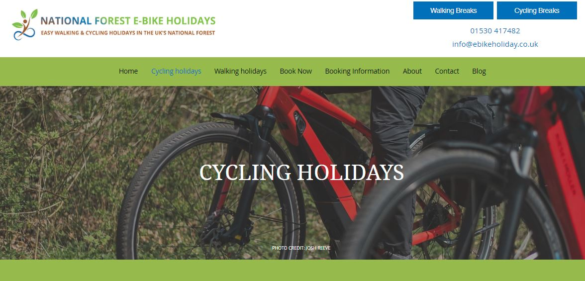 A photo of the E Bike Holidays website with two bikes featured.