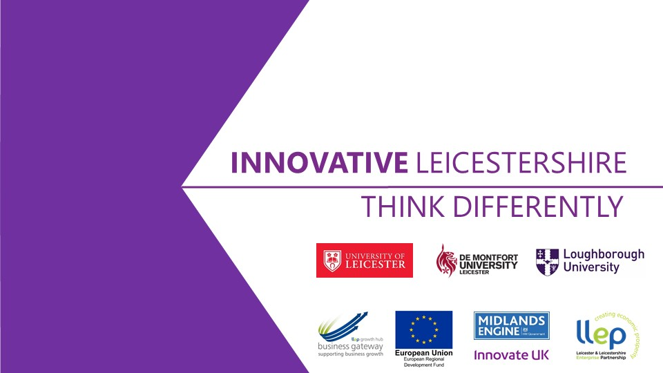 purple and white logo for innovative leicestershire