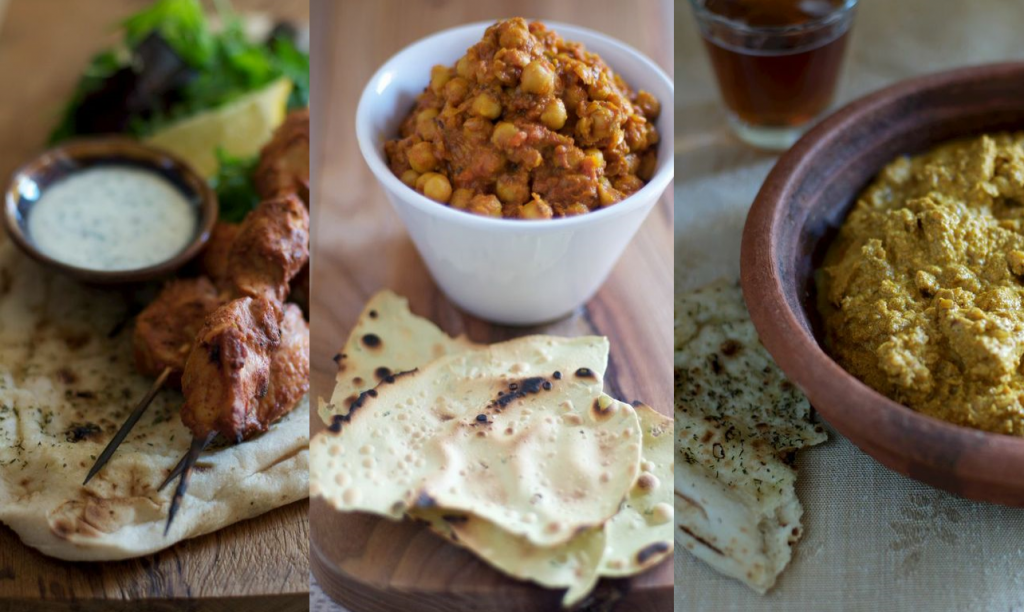 Three-indian-dishes-kebabs-chickpea-curry-chicken-korma